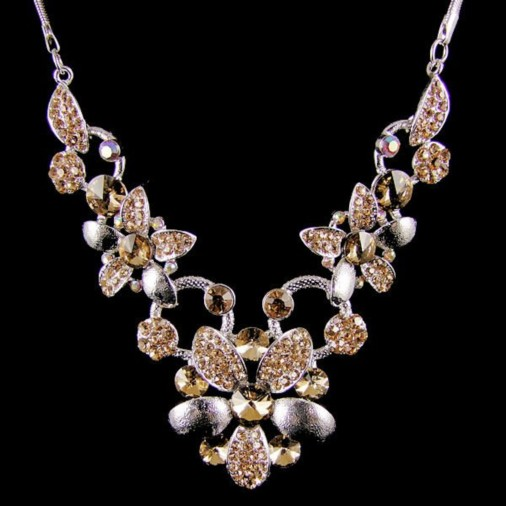 Carya Flower Diamante Necklace Gold
