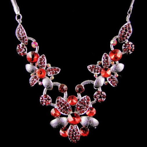 Carya Flower Diamante Necklace Red/Silver