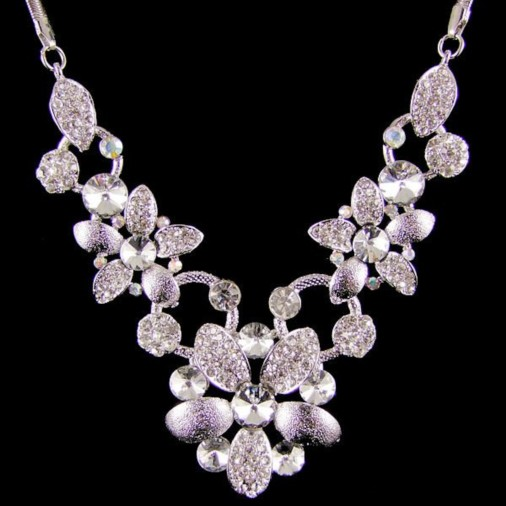 Carya Flower Diamante Necklace Silver/Clear
