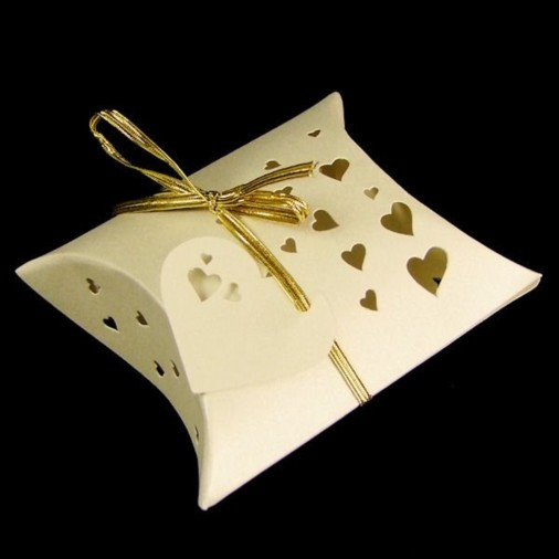 Heart Pearl Pillow Favour Box Ivory (5 Pack)