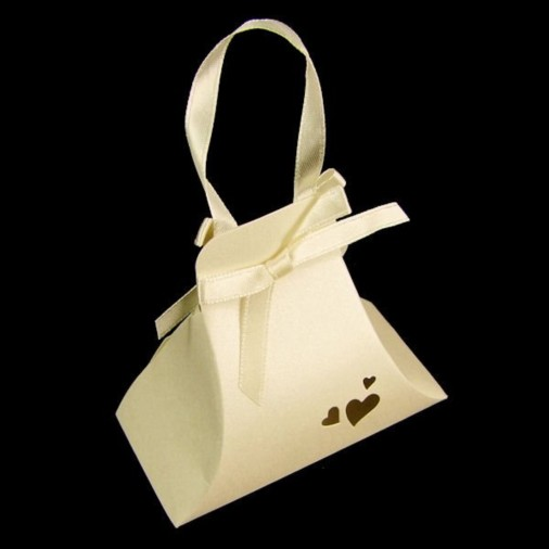 Heart Pearl Hand Bag Favour Box Ivory (5 Pack)