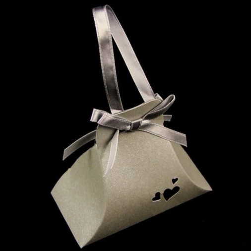 Heart Pearl Hand Bag Favour Box Silver (5 Pack)