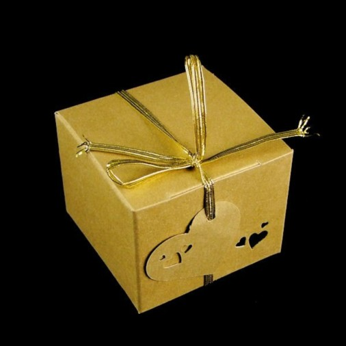 Heart Pearl Gift Favour Box Gold (5 Pack)