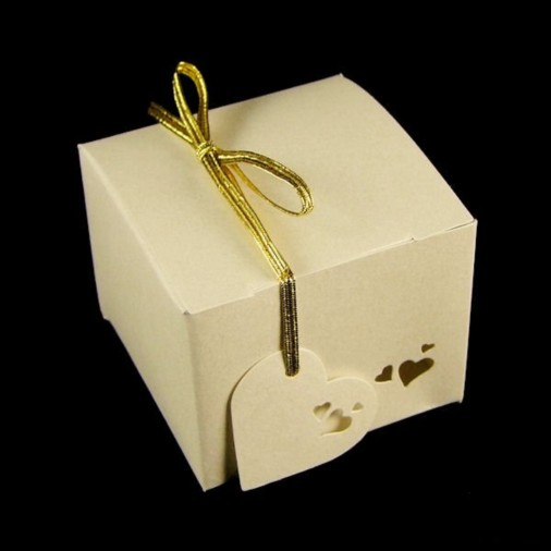 Heart Pearl Gift Favour Box Ivory (5 Pack)