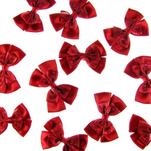 Satin Dual Ribbon Bow 6cm Crimson (25 pack)