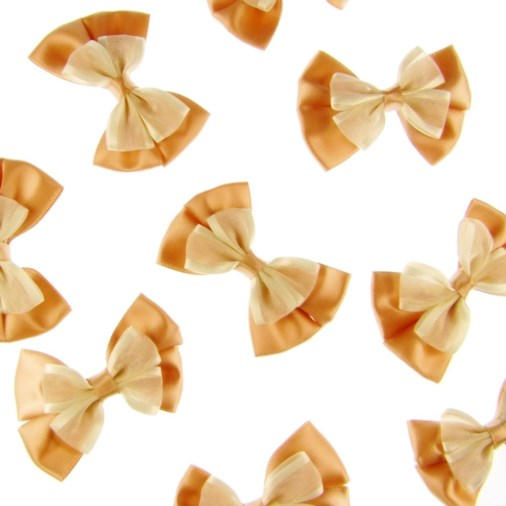 Silk/Satin Dual Ribbon Bow 6cm Gold/Ivory (25 pack)