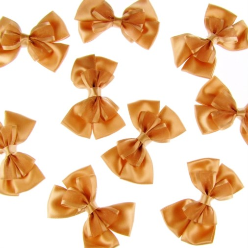 Satin Dual Ribbon Bow 6cm Gold (25 pack)