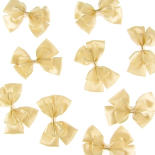 Satin Dual Ribbon Bow 6cm Ivory (25 pack)
