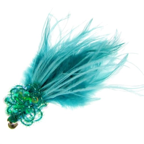 Carla Feathers & Bead Fascinator on Clip Jade