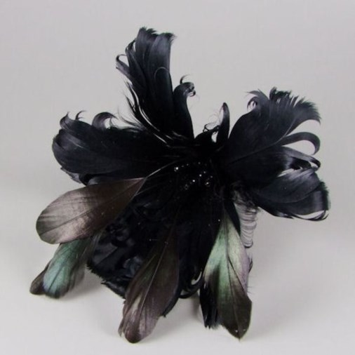 Leanne Curled Feather Hair Fascinator on Clip Black
