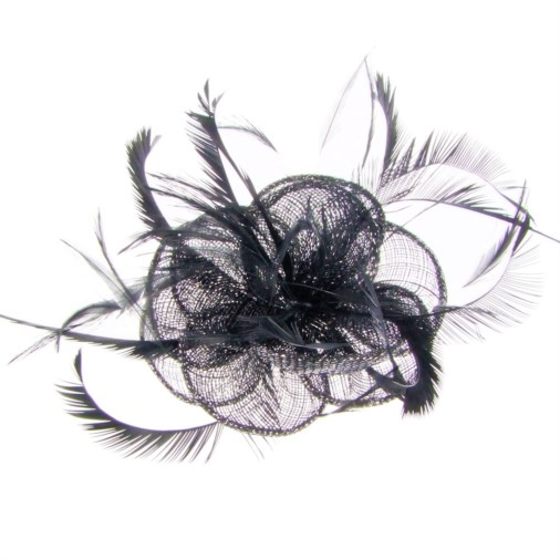 Eloise Sinamay Feather Fascinator on Comb Black e7ebdbdc2d1