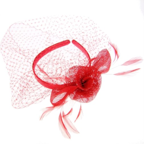 Annie Sinamay Loops Feather & Net Fascinator on Band Red