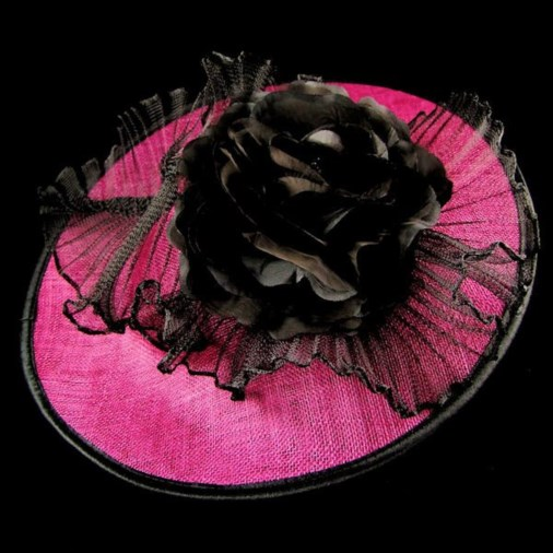 Claudine Disc Fascinator with Flower on Headband Fuchsia/Black