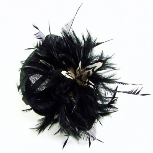 Sabine Small Sinamay Disc Fascinator Band with Feather Black/White