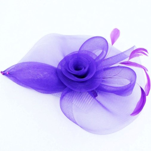 Carlotta Large Crin Fascinator on Comb Purple