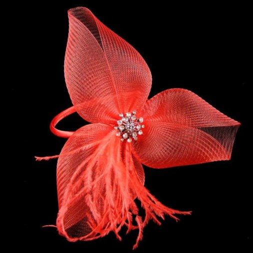 Lauren Crin Fascinator on Band with Feathers and Jewel Red