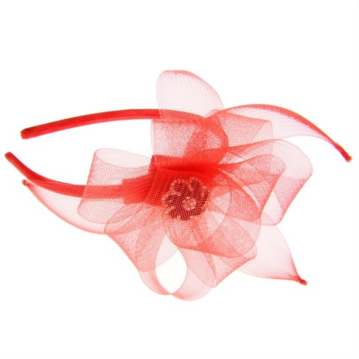 Anastasia Crin Loops & Petals Fascinator on Headband Red/Black