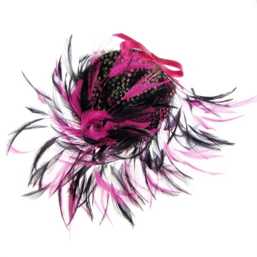 Marie-Anne Feather & Bow Fascinator Headband Black/Fuchsia