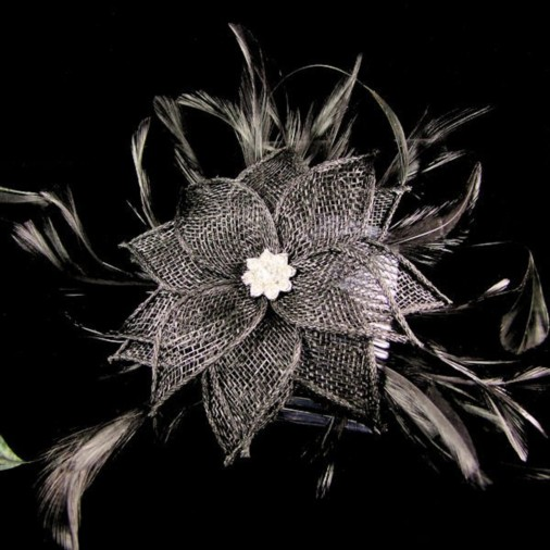 Wetherby Sinamay Flower & Jewel Fascinator on Comb Black