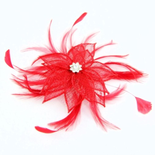 Wetherby Sinamay Flower & Jewel Fascinator on Comb Red