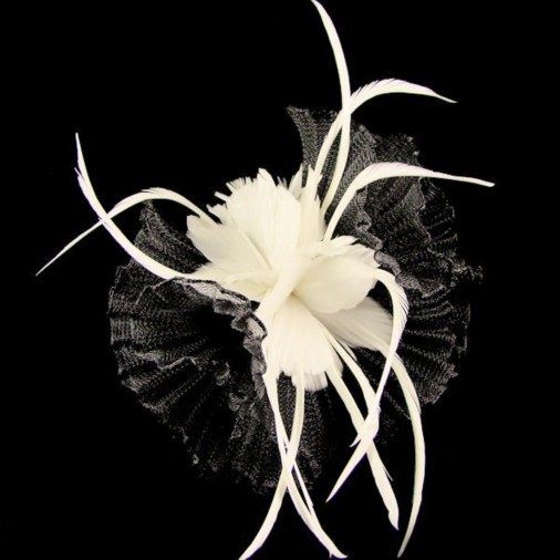 Newmarket Disc Sinamay & Crin Fascinator on Band Black/Ivory