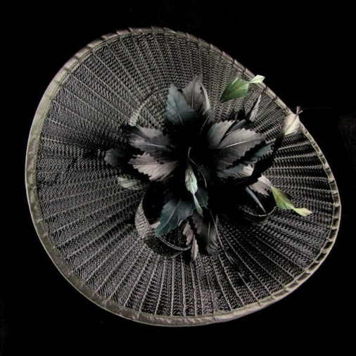 Goodwood Pleated Crin Fascinator Disc on Band Black