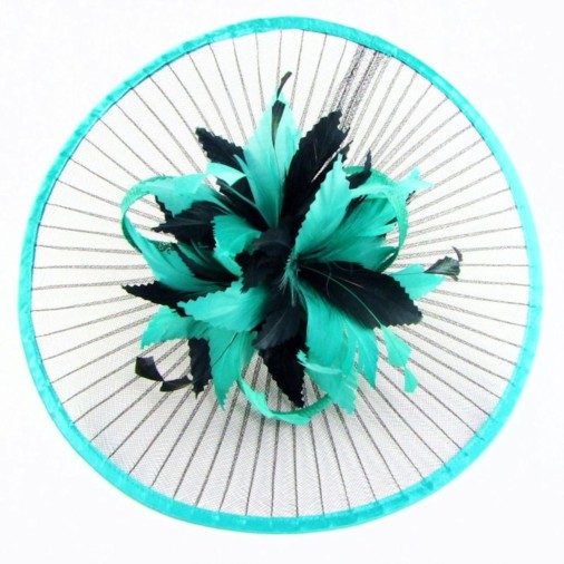 Goodwood Pleated Crin Fascinator Disc on Band Black/Jade