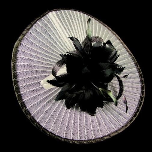 Goodwood Pleated Crin Fascinator Disc on Band White/Black