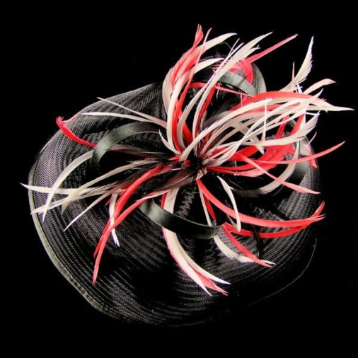 York Large Crin Fascinator with Feathers on Band Black/Silver/Red