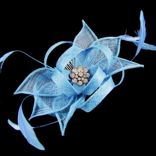 Haydock Flower Comb Fascinator with Jewel Electric Blue