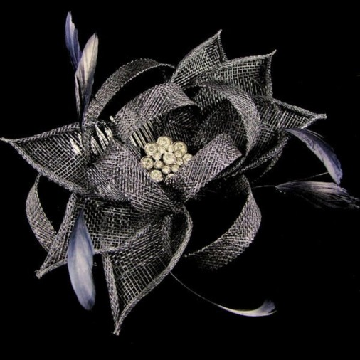 Haydock Flower Comb Fascinator with Jewel Navy