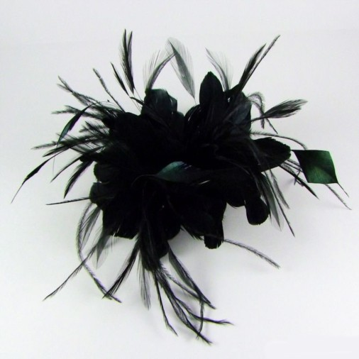 Fashion   Fascinators   Comb Fascinators   Capri Feather Flowers Hair Comb  Fascinator Black b674b1aec09