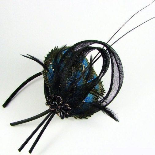 Venice Hairband Fascinator with Embroidery & Quill