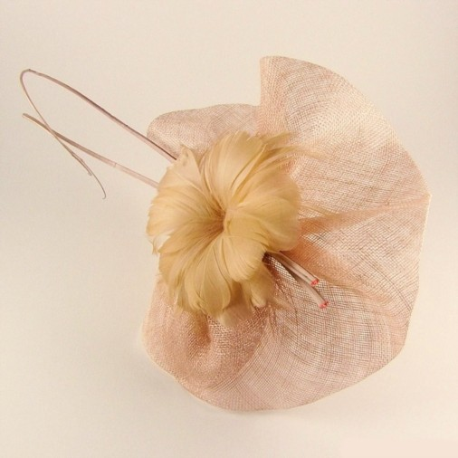Bologna Sinamay Flower & Quill Fascinator Shell Pink