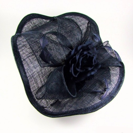 Genoa Sinamay Hairband Fascinator with Double Flower Navy