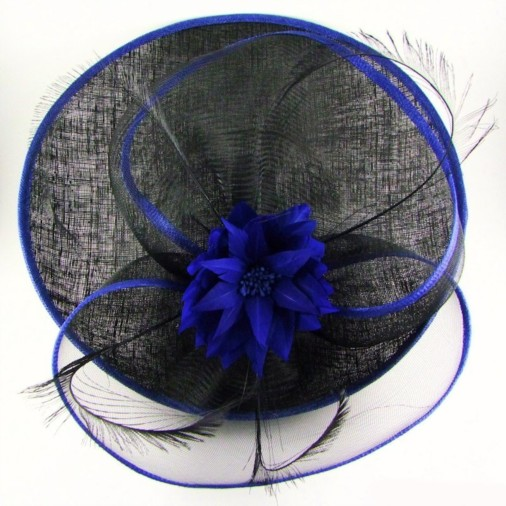 Brindisi Sinamay & Crin Disc Hairband Fascinator with Flower Black/Cobalt