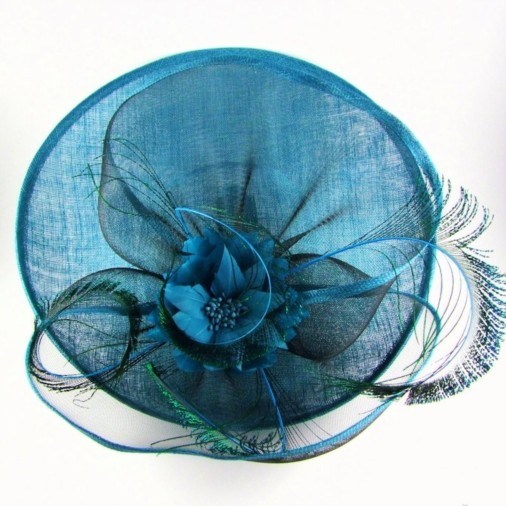 Brindisi Sinamay & Crin Disc Hairband Fascinator with Flower Teal/Black