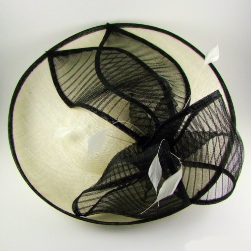 Trieste Sinamay Disc Hairband Fascinator with Pleated Crin Bow Ivory/Black