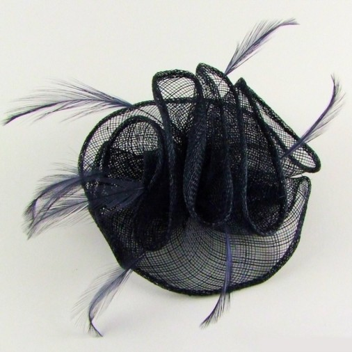 Fashion   Fascinators   Comb Fascinators   Padua Sinamay Pleat Comb  Fascinator Navy a38d14fcf8a