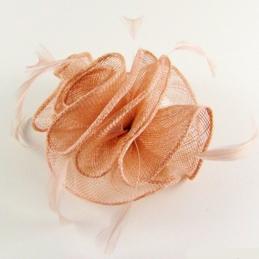 Padua Sinamay Pleat Comb Fascinator Shell Pink