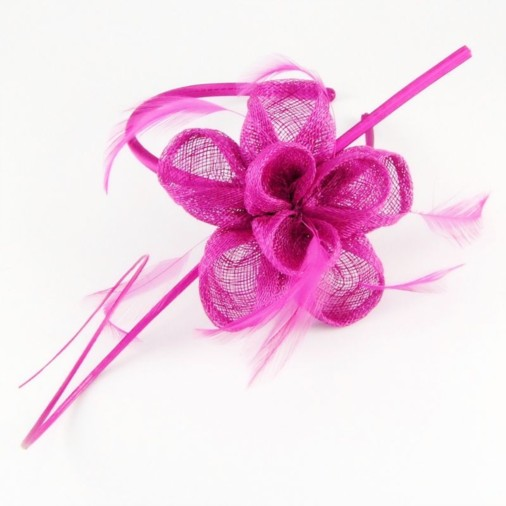 Lisbon Sinamay Petals Headband Fascinator with Quill Magenta 88dc6511a17