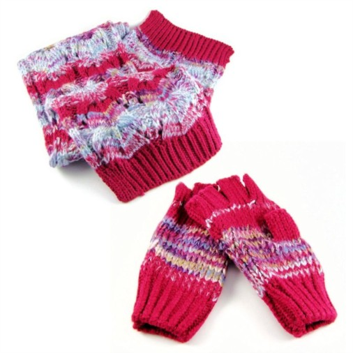 e188c8bedf7 Fashion   Fashion Accessories   Scarves   Blythe Multi-Colour Ladies Scarf    Glove Set Cerise