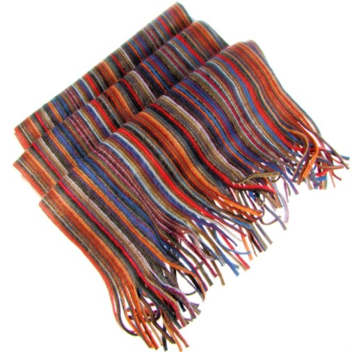 Martin Multi Coloured Stripe Mens Scarf Gold Multi