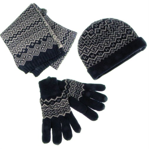 Fairisle Knit Mens Scarf Hat Amp Glove Set Navy