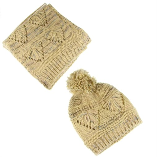 2c8ac1c7fc6 Fashion   Fashion Accessories   Scarves   Erica Reverse Fairisle Heart  Design Ladies Hat   Scarf Set Cream Multi