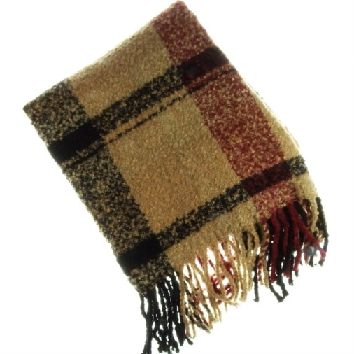 Ulrica Boucle Blanket Ladies Scarf Berry Check