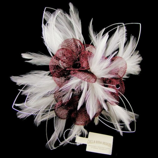 Feather & Crystal Wedding Bouquet in Burgundy/Ivory (Small)