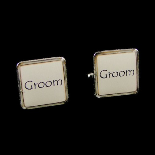 Groom White Square Wedding Cufflinks