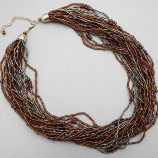 Heishi Toursad Multistrand Necklace Brown