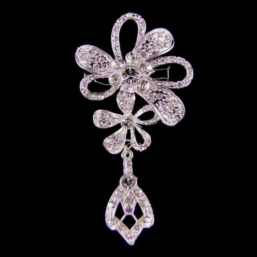 Double Flower Crystal Drop Brooch
